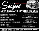 1960 - ad for New England Oyster House with five locations in Dade (3) and Broward (2) counties
