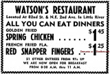1960 - ad for Watson's Restaurant in Little River at N. E. 2nd Avenue and 82nd Street