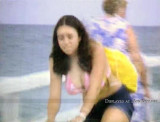 Summer 1970 - an unidentified lady bicyclist at Haulover Pier from an old film by Andy Browne