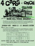 1974 or 1975 - flyer advertising 4 car drag racing at Miami-Hollywood Dragway way out west on Hollywood Boulevard