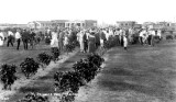 1921 - a large group of visitors at Hialeah's Triangle Park on Palm Avenue and County Road (later Okeechobee Road)
