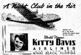 1950's - promotional advertisement for A Night Club in the Air at the Airliner Hotel on 1610 Alton Road, Miami Beach