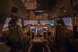 747-400 flightdeck at night