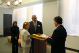 The wedding ceremony for Orna and Moshe (Judy is in the background) - at the City Clerk's Marriage Bureau in Manhattan