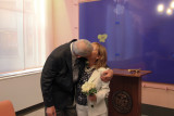 Moshe and Orna seal the deal again at the end of their wedding ceremony :-) - at the City Clerk's Marriage Bureau in Manhattan