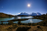 Torres del paine at moonlight