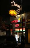 Holiday Lights at Chicken & Pizza Restaurant
