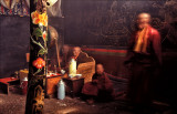 Monks in a smokey chamber