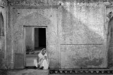 A Woman in Yellow Dress B&W - Amber Fort, Jaipur, India
