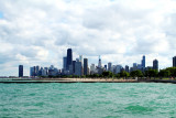 Chicago across the waters of Lake Michigan, North Avenue Beach