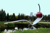 Spoonbridge and Cherry Fountain by Claes Oldenburg and Coosje van Bruggen, Minneapolis Sculpture Garden