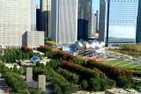 Millennium Park - Pritzker Pavilion, Cloud Gate and Crown Fountain, view from Santa Fe Building, - Open House Chicago 2011