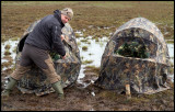 A muddy experience!! Henrik and I sat in these hides six hours one morning to photograph Ruff lekking