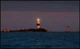 The last rays of sunlight over Långe Jan Lighthouse - seen from my Zodiac