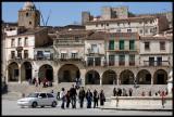 The central square of Trujillo, where tourists gather.....