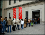 People waitng outside Madrid National museum to se Picassos Guernica at display