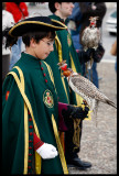 Young falconer in Easter procession