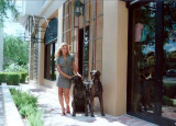 Amy with the dogs on Las Olas
