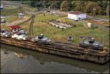 Trains that take ships through Panama Canals Gatun Locks