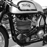 Manx Norton engine with exposed hairpin valve springs