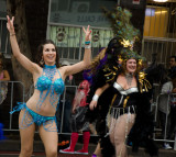 Samba dancers entertained the crowd before the parade