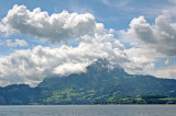 Mount Pilatus from the middle of Lake Lucerne