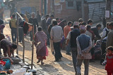 Bhaktapur with a busy road of people