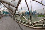 View from the Helix Bridge to the skyline of Singapore