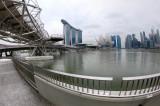 Helix Bridge to the skyline of Singapore