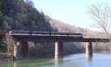 Shortly after departing Emory Gap, NS 952 crosses the Emory River at Harriman Junction