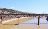 With a new load of NS folks onboard, the Blue Ribbon Special crosses the Cumberland River Bridge at Burnside