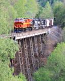 NS 387 crosses Bootleggers trestle on the Appalachia District