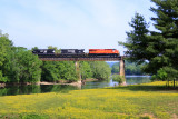 NS 8114, train 387, crosses the Holston River shortly after departing Knoxville