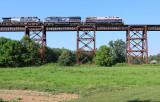 Southbound NS 50A rolls across the Green River bridge on a 95 degree afternoon