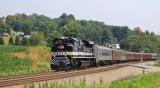 NS 958 rolls through the valley near Shawsville