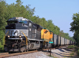 Eastbound 76J at Nevin with 90 loads of coal for KU