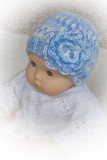 Jacquard Hat With Flower For 15-16 Baby Doll