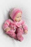 Pink Jacquard Sweater And Bonnet For 15-16 Baby Doll