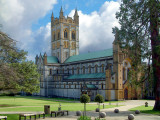 Buckfast Abbey ~ stone balls and tower