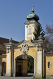 Csorna: Impressive gate and steeple