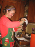 making the triple chocolate brownies