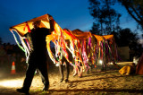 The rainbow serpent moves across the earth creating the landscape