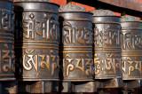 Prayer wheels, inscribed in Tibetan