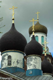 Onion domes and spires of a rural church