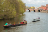 Narrow boats on the Severn at Worcester