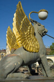 Golden-winged gryphons guard the Bankovsky Most canal bridge