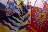 Heraldic banners displayed at the Peter & Paul Fortress