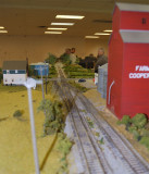 Peering down the mainline from one end of the layout.