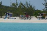 The cabanas on the beach