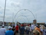 Hundreds of tourists crossing the Queen Emma Bridge